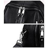 Рюкзак сумка міський жіночий стильний з екошкіри Зірка. Сумка трансформер (чорний), фото 8