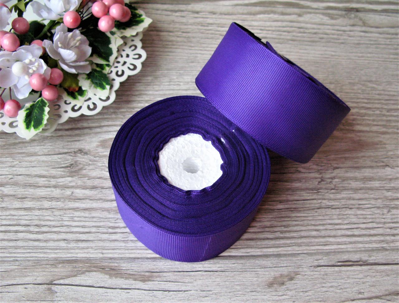 Лента репсовая 4 см темно фиолетовая, бобина 18 м - 51 грн