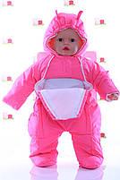 Демисезонный комбинезон для новорожденного (0-6 месяцев) ярко-розовый, фото 2