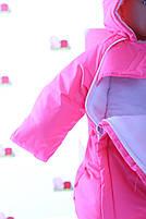 Демисезонный комбинезон для новорожденного (0-6 месяцев) ярко-розовый, фото 4