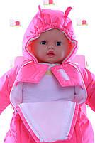 Демисезонный комбинезон для новорожденного (0-6 месяцев) ярко-розовый, фото 3
