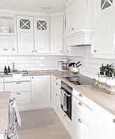 Кухня на заказ белая матовая фасады с фрезеровкой в скандинавском стиле, фото 1