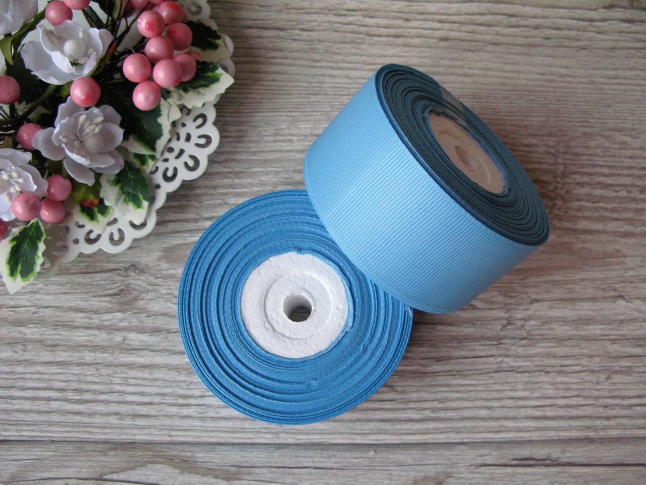 Лента репсовая 4 см темно голубой, бобина 18 м - 51 грн