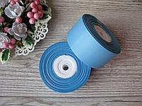 Лента репсовая 4 см темно голубой, бобина 18 м - 51 грн, фото 1