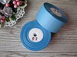 Лента репсовая 4 см темно голубой, бобина 18 м - 51 грн, фото 3