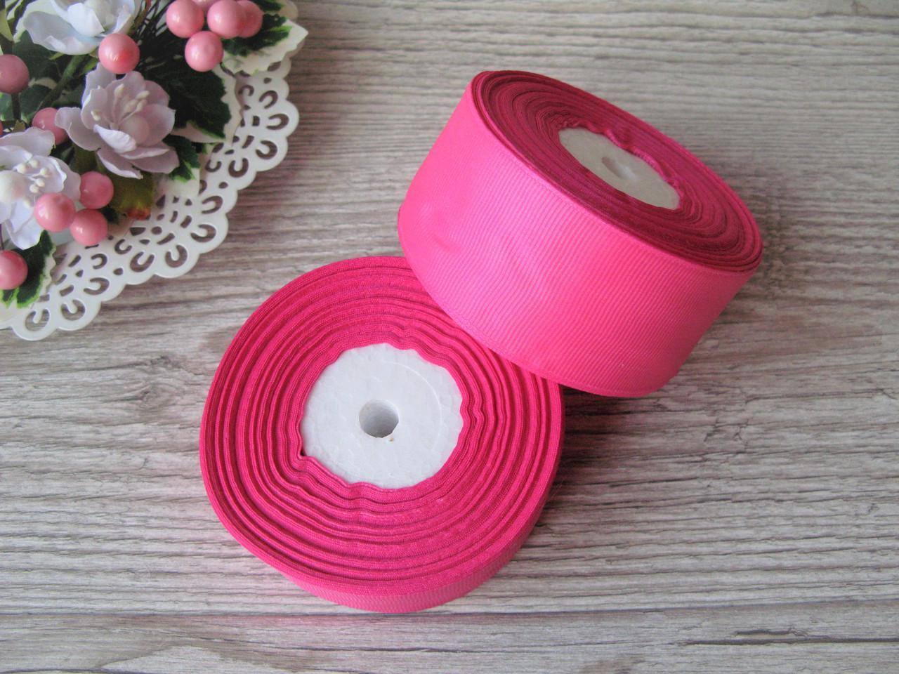 Лента репсовая 4 см темно-розовый, бобина 18 м - 51 грн