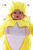 Демисезонный комбинезон для новорожденного (0-6 месяцев) Желтый, фото 2