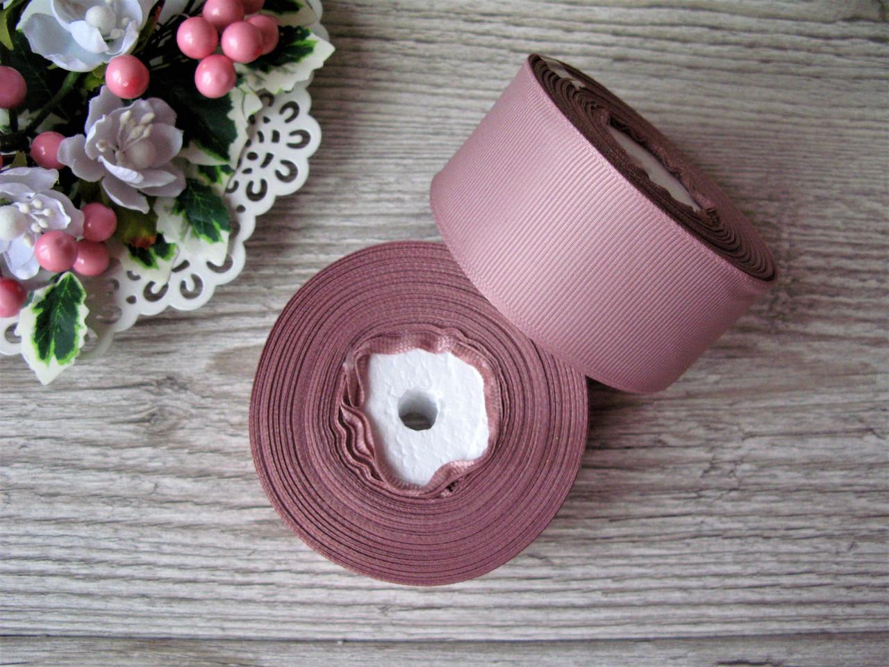 Лента репсовая 4 см розово-бежевый, бобина 18 м - 51 грн
