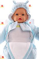 Демисезонный комбинезон для новорожденного (0-6 месяцев) нежно-голубой, фото 3
