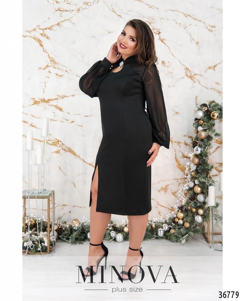 Элегантное женское чёрное платье с шифоновыми рукавами с 50 по 60