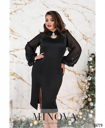 Элегантное женское чёрное платье с шифоновыми рукавами с 50 по 60, фото 2