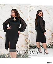 Элегантное женское чёрное платье с шифоновыми рукавами с 50 по 60, фото 3