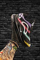 Мужские кроссовки Nike Air Max 720 Black With Rainbow Line