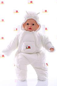 Демисезонный комбинезон для новорожденного (0-6 месяцев) белый