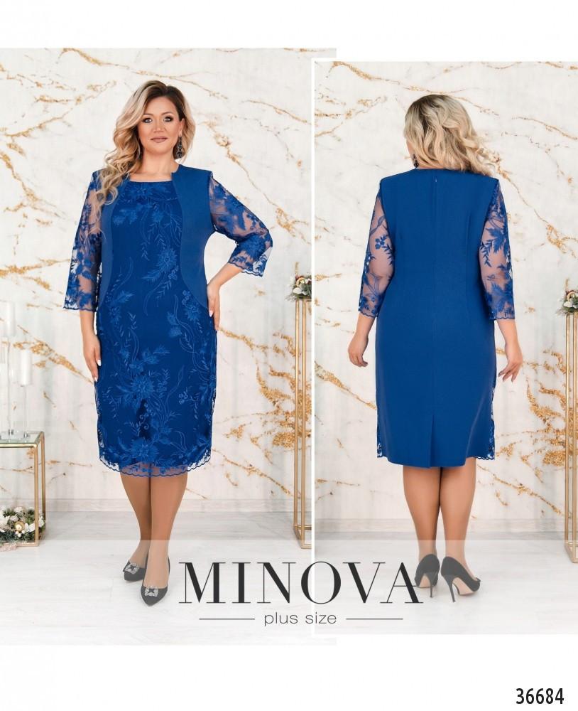 Элегантное женское платье украшенное кружевом с 54 по 64 размер