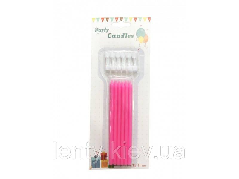 Свічки Довгі (12 штук) Рожеві