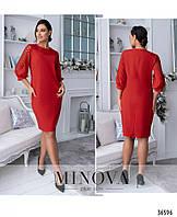 Красивое женское платье красного цвета с 50 по 62 размер