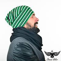 Набор: шарф-снуд черного цвета + шапка в полоску. unisex, фото 1