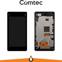 Дисплей для Sony D5503 Xperia Z1 Compact с тачскрином (Модуль) черный, с передней панелью (рамкой), оригинал