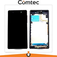 Дисплей для Sony D6502 Xperia Z2 L50W/D6503 с тачскрином (Модуль) черный, с передней панелью (рамкой)