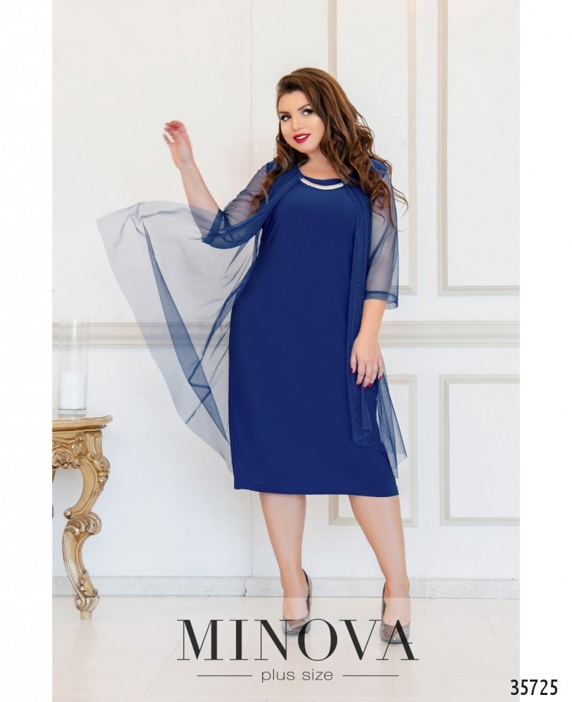 Нарядное женское платье с шифоновой накидкой в 3-х цветах большого размера с 54 по 60