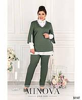 Стильный женский костюм-тройка большого размера в стиле casual с 50 по 64 размер в 3-х расцветках