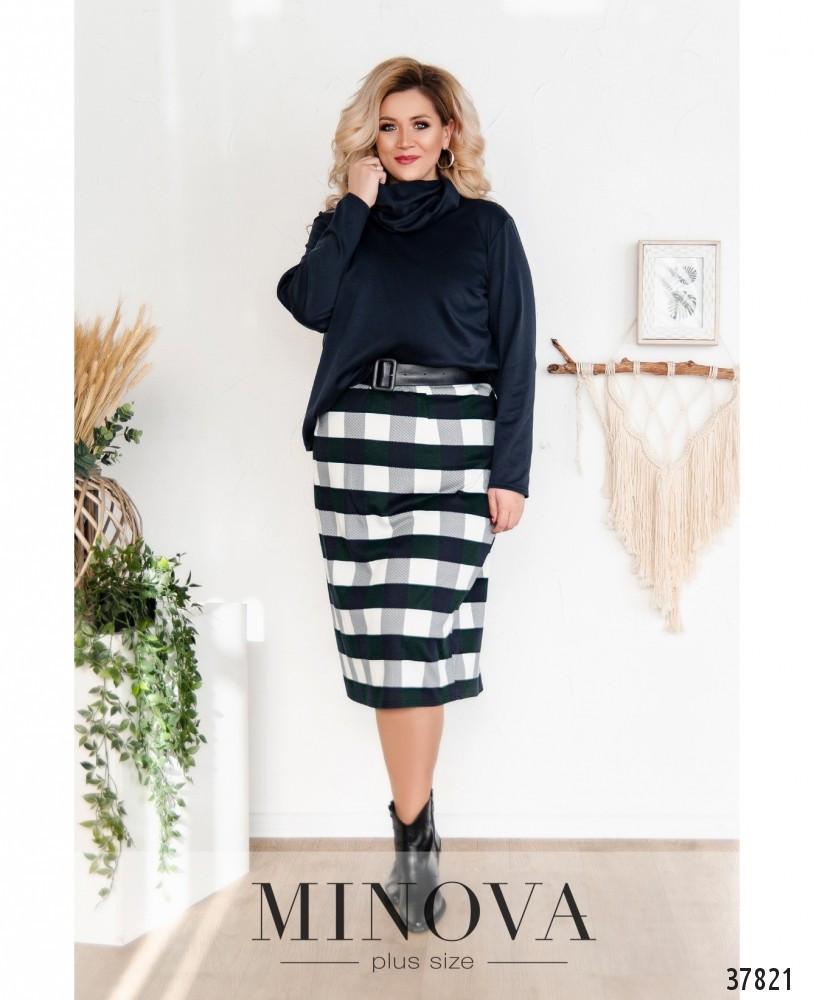 Женский костюм-двойка-юбка и кофта больших размеров с 50 по 68 размер