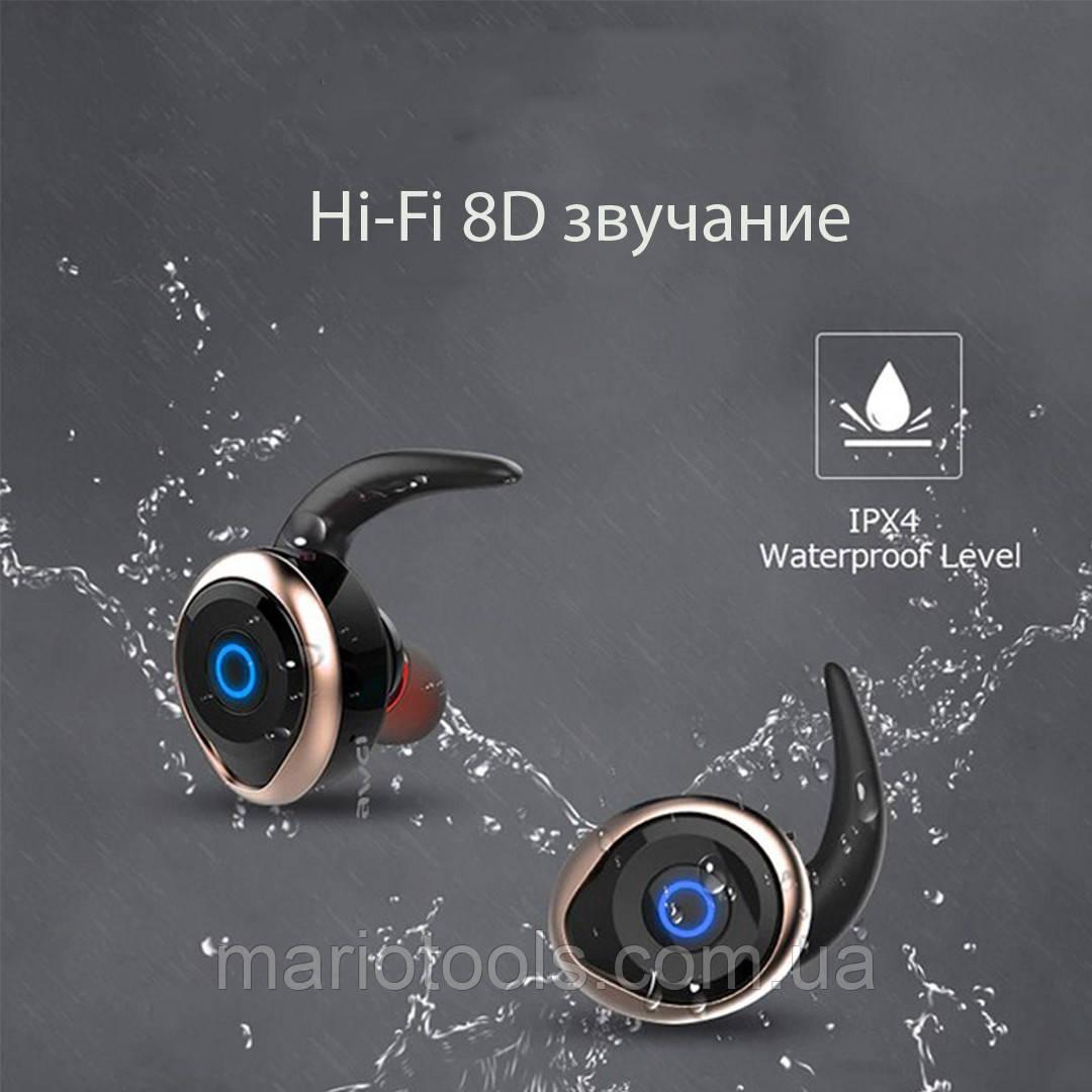 Спортивные вакуумные блютуз наушники беспроводные AWEI T-1 Twins Earphones Bluetooth затычки