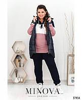 Удобный женский спортивный костюм 3-ка с утеплённой жилеткой с 50 по 64 размер
