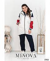 Стильный женский спортивный костюм 3-ка с белой жилеткой с 50 по 64 размер