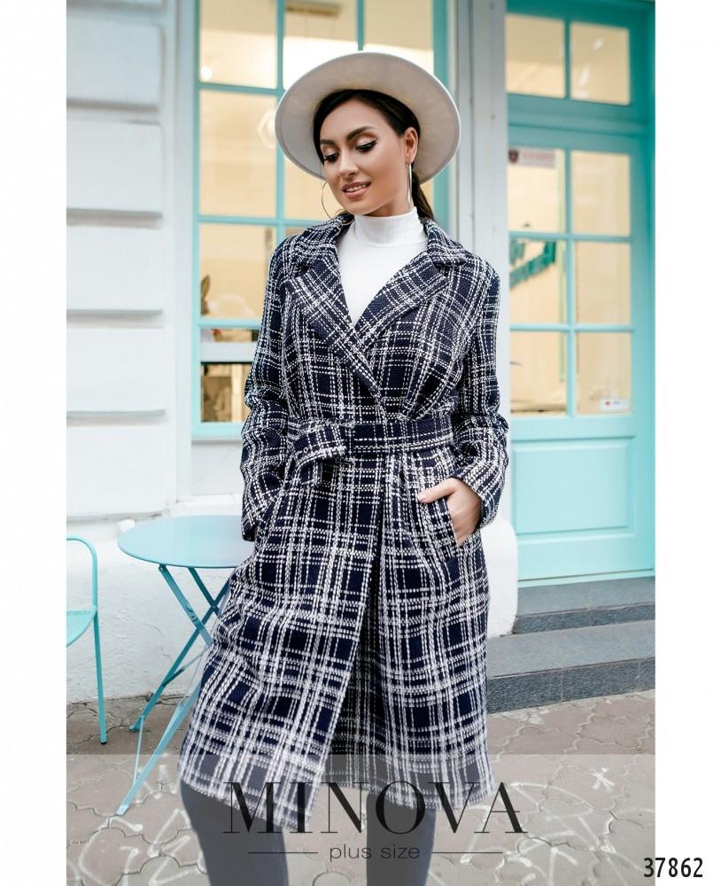 Привлекательное женское пальто из букле в клеточку большого размера с 50 по 64