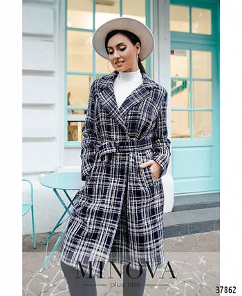 Привлекательное женское пальто из букле в клеточку большого размера с 50 по 64, фото 2