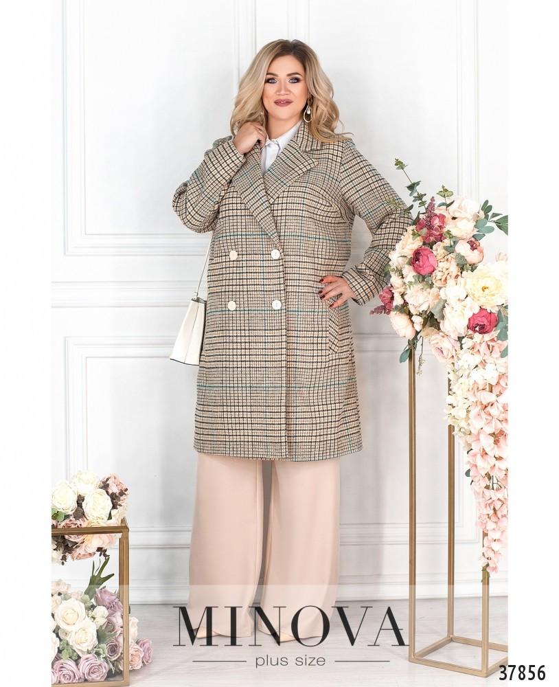 Эффектное женское пальто из кашемира батал с 48 по 62 размер