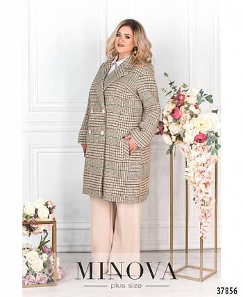 Эффектное женское пальто из кашемира батал с 48 по 62 размер, фото 2