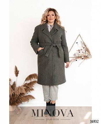 Тёплое зимнее женское пальто А-силуэта с 48 по 62 размер, фото 2