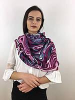 """Шарф жіночий брендовий  """"Абстракція"""", в 10 кольорових гамах, 180*70см.,  Eyfel, Туреччина Фіолетовий-рожевий-сірий"""