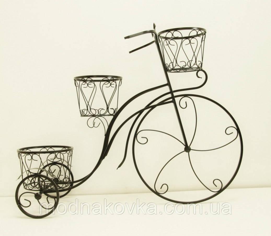 Подставка для цветов Велосипед 3 большой, черный с золотом