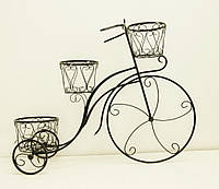 Подставка для цветов Велосипед 3 большой, черный с золотом, фото 1