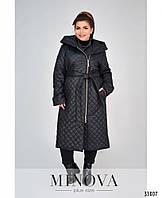 Пальто стёганное демисезонное большемерное с 48 по 62 размер черного цвета