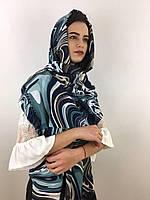 """Шарф жіночий брендовий  """"Абстракція"""", в 10 кольорових гамах, 180*70см.,  Eyfel, Туреччина Бірюзовий-синій-гірчичний"""