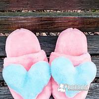 Меховые розовые домашние женские тапочки с сердцем 40-41