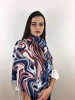 """Шарф жіночий брендовий  """"Абстракція"""", в 10 кольорових гамах, 180*70см.,  Eyfel, Туреччина Синій-червоний-білий"""