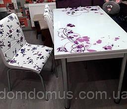 """Комплект обідній меблів """"Vor Cicek"""" (стіл ДСП, гартоване скло + 4 стільця) Mobilgen, Туреччина"""