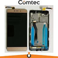 Дисплей для Xiaomi Redmi 4 Prime/Redmi 4 Pro с тачскрином (Модуль) золотистый, с передней панелью (рамкой)