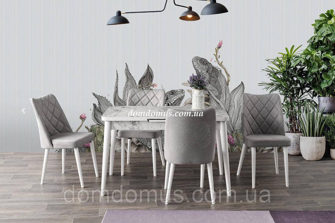 Комплект обеденной мебели SILVA masa beayz mermer 120+30/70/75 - стол + 4 стула  Mobilgen, Турция