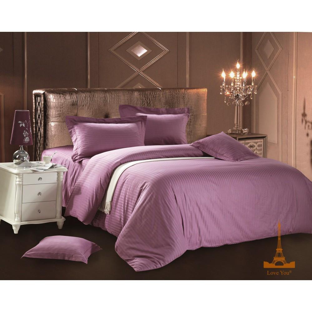 Постельное белье Love You - страйп сатин светло-фиолетовый семейное