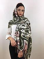 """Шарф жіночий брендовий  """"Абстракція"""", в 10 кольорових гамах, 180*70см.,  Eyfel, Туреччина Зелений-блідо рожевий-білий"""