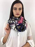 """Шарф жіночий брендовий  """"Абстракція"""", в 10 кольорових гамах, 180*70см.,  Eyfel, Туреччина Гірчмчний-рожевий-темносиній"""
