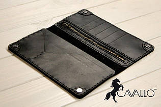 Чоловіче портмоне з натуральної шкіри з відділенням на блискавці Cavallo™ Crazy Horse Classic, чорний C0003