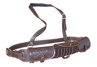 Патронташ Медан 2007 кожаный однорядный с тиснением 12к.*18 патронов  подарочный